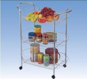 China 14 mm Food Storage Wire Kitchen Storage Racks / Shelves, Rolling Storage Cart JP-985C wholesale