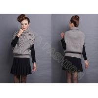 China Womens Pullover Sweaters Turtle Neck Drop Shoulder Cable Knit Sleeveless wholesale
