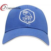 Buy cheap Blue Heavy Brushed Team Cotton Baseball Caps Golf Cap With Velcro Closure from wholesalers