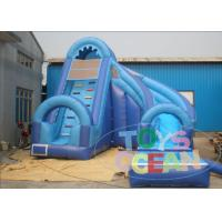 China Large Curved Outdoor Inflatable Backyard Water Slide Business Blue For Children wholesale