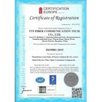 Shenzhen TTI Fiber Communication Tech.co., Ltd. Certifications