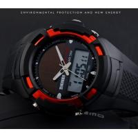 Quality Wholesale Men Multifunction Solar Power Dual time Sport Wrist Watch 5 ATM PU Strap Watches 1056 for sale