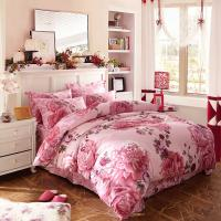 China Luxury 4 Piece Cotton Bedding Sets King Size / Twin Size Embroidered Flower wholesale