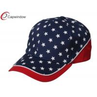 China Red Navy Cotton Baseball Caps with Patriotic Stars / Velcro Strap Closure wholesale