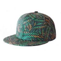 China Green Leaves Printing Hip Hop Baseball Caps Adjusteble With 3D Embroidered wholesale