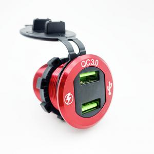 China Waterproof Dual USB Quick Charger QC3.0 36w usb fast charger motorcycle dual auto usb charger socket led display for bus wholesale
