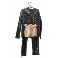 China Comfortable Microfleece Pj Set Emb All Over Print Long Sleeves And Trousers wholesale