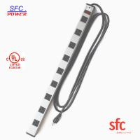 China Grounded 9 Outlet Metal Low Profile Plug Power Strip With Long Extension Cord wholesale