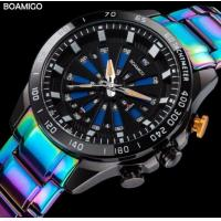 China Boamigo Fashion Creative LED and Quartz Dual Time Watch 3 ATM Waterproof Colorful Stainless Steel Band Watch F922 wholesale