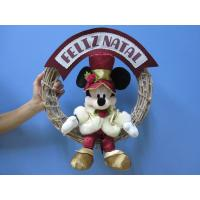 China Mickey Mouse Disney Plush Toys with Wreath / Christmas Holiday Stuffed Toys wholesale