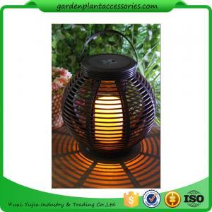 China Medium Round Outdoor Rattan Solar Lantern With 2V / 80MA Solar Panel wholesale