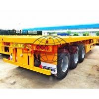China 40 Ton Payload Three Axle Flatbed Semi Trailer 40ft Long 12R22.5 Tubeless Tire wholesale