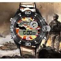 China Smael Dual Time Camouflage Chronograph Luminous Multifunction Military Sport Watches 1077 wholesale