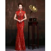 China Slim Sequined Beaded Qipao Wedding Dress Red Lace wedding gowns for Womens , Girls wholesale