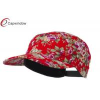 China Red 5 Panel Flat Bill Cotton Baseball Caps with Flower Print Patterns /  Buckle Strap Closure wholesale