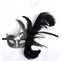 """China Colombina Plastic mask with ostrich feather 13"""" PF0803R SILVER wholesale"""