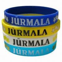 China Promotional Silicone Wristbands, Available with Embossed, Debossed or Printing Logos wholesale