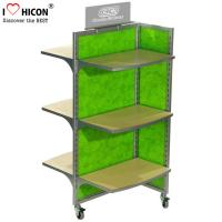 China Movable Floor Standing Retail Store Fixtures 3 - Way Wood Toy Display Shelves wholesale