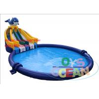 China Commercial Large Inflatable Dolphin Slide With Round Inflatable Water Pool wholesale