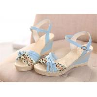 China Colorful PU Straps Upper Women'S Wedge Sandals , Beautiful Ankle Strap Wedge Sandals wholesale
