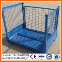 China 1.2X1.0m Collapsible Folding Warehouse Logistic Trolley Roll Wire Mesh Storage Cage wholesale