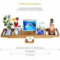 China Durable Bamboo Bathroom Supplies Expandable Bamboo Bathtub Caddy Tray on sale