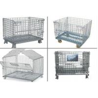 China Collapsible Metal Pallet Cage , Steel Wire Pallet Storage Cage U Type Hand on sale