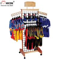 China Wooden Retail Clothing Store Fixtures Grid Wall Panel Display With Hooks wholesale