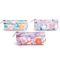 China Custom Fabric Student Pencil Pouches 2 Pockets Zipper Closure Large Capacity on sale