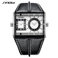 China SINOBI Multiple Time Zone Men Watches Stainless Steel Men's Leather Quartz Wristwatches on sale