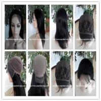 China 100% Human hair lace front wig indian remy silk straight hair,120%-180% density,1b#color. wholesale