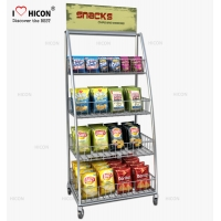 China Freestanding Point Of Purchase Wire Snack Chip Bag Display Racks wholesale