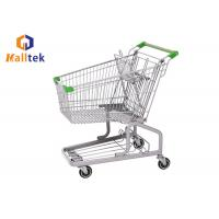 China Steel Grocery Mall German Style Trolley , Metal Shopping Cart With Seat Wheels wholesale