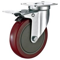 """5""""X1-1/4"""" Industrial Trolley PU Caster Wheel With Total Locking Brakes Heavy for sale"""