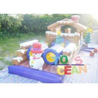 Quality Large Christmas Inflatable Playground Snowman Bounce Obstacle Course For Carnival for sale