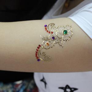 Metallic Temporary Rhinestone Eye Tattoos Stickers With Fake Gem Stylish