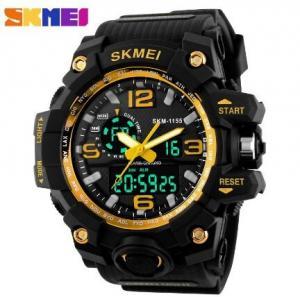 China Skmei Men Multifunction 5 ATM Shock Resist Chrono Dual Time Sport PU Strap Watch 1155 wholesale