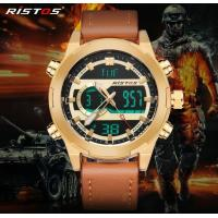 Quality RISTOS New Design Unique Genuine Leather Strap Dual Time Chrono Sports Wrist Watch  9342 for sale