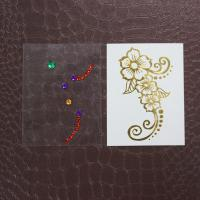 Gold Foil Body Makeup Rhinestone Tattoo Stickers With Crystal Waterproof