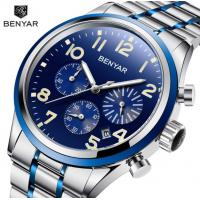 China Benyar Men Stainless Steel Band Waterproof 30m Chronograph Quartz Wrist Watch Fashion Men Business Watch BY-5138 wholesale