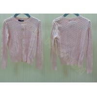 China Crew Neck Cable Knit Pink Buttons Up Kids Holiday Sweaters Cardigan wholesale