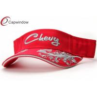 China Red Chevy Embroidery Tennis Sun Visor With Grey Sandwich On Beak wholesale