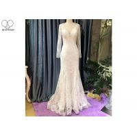 China Deep V Neck Mermaid Style Prom Dress / Long Sleeve See Ivory Lace Evening Gown on sale