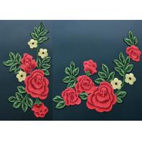 China Colorful Polyester Neckline Embroidered Applique Patches With Large Red 3D Flower wholesale