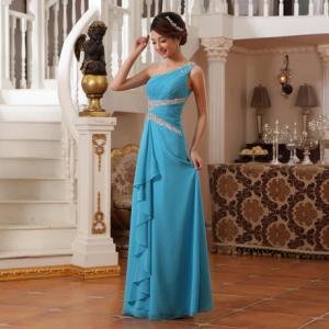 Chiffon Bridesmaid Dress Long Section One Shoulder Dress Beading Sashes Evening Dress