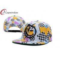 China Allover Triangle Printed Custom Strapback Hats With Plastic Hole Closure wholesale