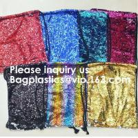 China Customized Sublimation Sequins Drawstring Bag Black And White Backpack Bag,Reversible Bling Customized Sequin Drawstring wholesale