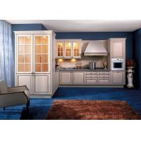 China Soild Wood / Maple White Kitchen Wall Cabinets With Glass Doors L Shaped wholesale