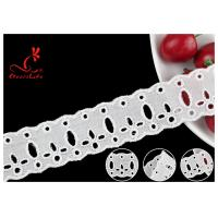 China Original Embroidered Cotton Eyelet Lace Trims With Double Scalloped Edge Via SGS wholesale