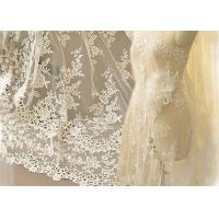 China Ivory Embroidery Bridal Corded Lace Fabric , Flower Scalloped Edge Lace Fabric By The Yard wholesale